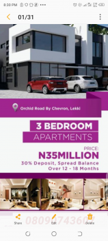 C of O House, Orchid Road, By Chevron, Lekki Phase 2, Lekki, Lagos, Terraced Duplex for Sale