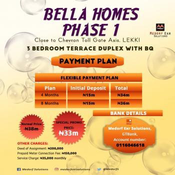 Luxury 3 Bedroom Terrace Dublex with Bq, Chevron Toll Gate ,lekki Express Way, Lekki Expressway, Lekki, Lagos, Terraced Duplex for Sale