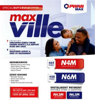 Plots of Land, Max Ville Estate, Umuokpara Egbelu Obube, Airport Road, Owerri, Imo, Residential Land for Sale