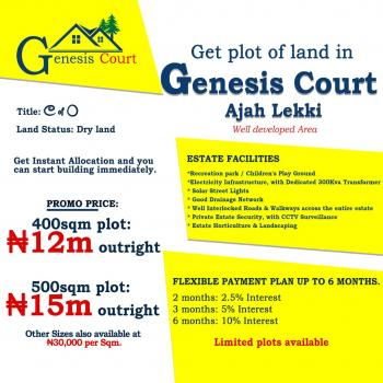 Genesis Court Highly Luxury Estate with C of O.  100% Dry., Beside Cooperative Villa Estate, Few Minutes From Vgc, Badore, Ajah, Lagos, Residential Land for Sale