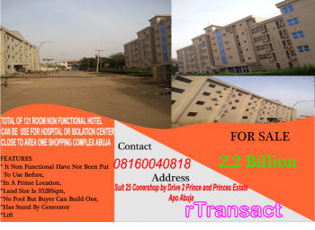 121 Room Non Functional Hotel Use Hospital Or Isolation Center, Area 1, Garki, Abuja, Hotel / Guest House for Sale