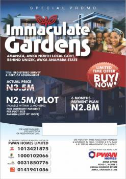 Land, Immaculate Gardens, Behind Unizik, Awka, Anambra, Mixed-use Land for Sale