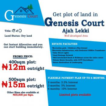 a Well Developed and Existing Infrastructure Estate, Genesis Estate., Sangotedo., Badore, Ajah, Lagos, Residential Land for Sale