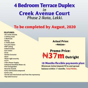 Luxury 4 Bedrooms Terraced Duplex, Creek Avenue Court Phase 2, Ikota, Lekki, Lagos, Terraced Duplex for Sale