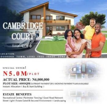 Plots of Land at a Fast Growing Investment Hub, Cambridge Court, Osoroko, Ibeju Lekki, Lagos, Residential Land for Sale