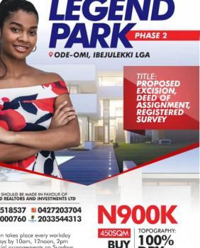 Estate Land Legend Park, Legend Park Estate, Igbogun, Dangote Refinery Area, Eleko, Ibeju Lekki, Lagos, Residential Land for Sale