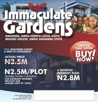 Estate Land, Few Minutes From Unizik Permanent Site Back Gate, Awka, Anambra, Residential Land for Sale