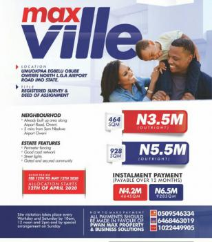 Affordable Plots of Land, Max Ville Estate in Umuokpara Egbelu Obube, Airport Road, Owerri North, Imo, Land for Sale