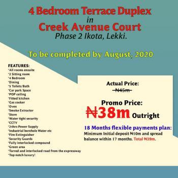 4 Bedroom Terraced Duplex, Creek Avenue Court Phase 2, 2nd Toll Gate, Chevron Alternative Drive, Ikota, Lekki, Lagos, Terraced Duplex for Sale