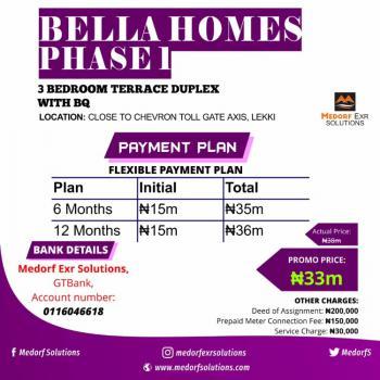 Luxurious Bella Court,3 Bedroom Terraced Duplex with Bq, Lekki Expressway, Lekki, Lagos, Terraced Duplex for Sale