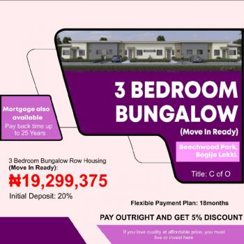 Luxury 3 Bedroom Bungalow with Excellent Scenery, Beachwood Park, Bogije, Ibeju Lekki, Lagos, Terraced Bungalow for Sale