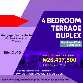 4 Bedroom Terrace Duplex, Beechwood Park, Bogije, Ibeju Lekki, Lagos, Terraced Duplex for Sale