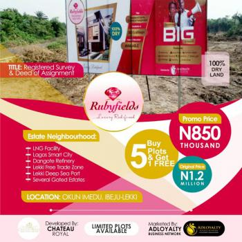 Rubyfield Estate; 100% Dry Land with Instant Allocation., Few Minutes From La Campaign Tropicana Beach and Dangote Refinery, Okun Imedu, Ibeju Lekki, Lagos, Mixed-use Land for Sale