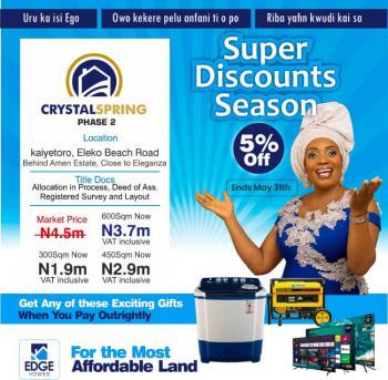 Most Affordable Gated  Estate Land in Serene Environment, Eleko Beach Junction, Eleko, Ibeju Lekki, Lagos, Residential Land for Sale