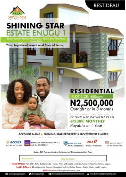 Cheapest  Land  in Prime Location, Shining Star Estate Akor Nike Road, Abakpa Nike, Enugu, Enugu, Residential Land for Sale