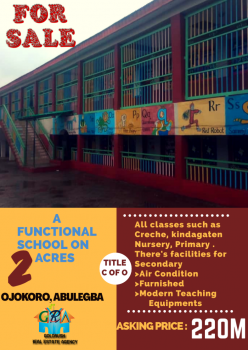 Functional School on 2 Acres of Land, Abule Egba, Agege, Lagos, School for Sale