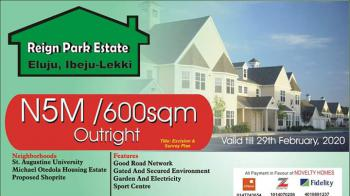 Cheapest Estate Land with Good Title  in Serene Location, Reign Park Estate, Lekki Epe Express, Eluju, Ibeju Lekki, Lagos, Land for Sale