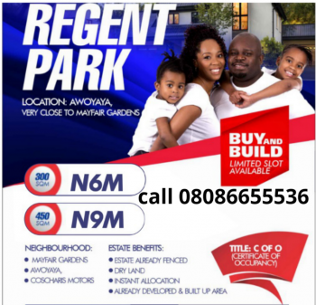 C of O Land in a Secure Environment - Regent Park, Awoyaya, Ibeju Lekki, Lagos, Residential Land for Sale
