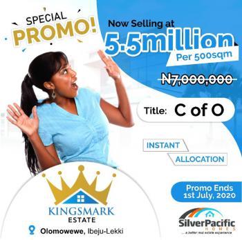 Genuine Kingsmark Estate C of O Land, Olomowewe Town, Ibeju Lekki, Lagos, Residential Land for Sale