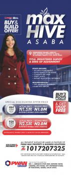Plot of Land (promo Price Buy 3 Plots Get 1 Free), Max Hive Estate Opposite Admiralty University, Asaba, Delta, Mixed-use Land for Sale