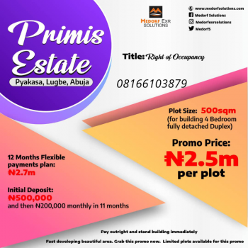 Affordable Residential Plot with 12month Flexible Payment, Primis Estate, Pyakasa, Lugbe District, Abuja, Residential Land for Sale