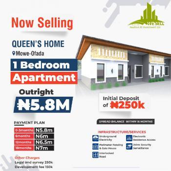One Bedroom Bungalow, Queens Home, Mowe Ofada, Ogun, Detached Bungalow for Sale