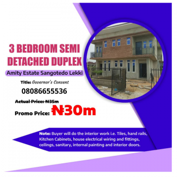 3 Bedroom Semi-finished Duplex in a Developed Estate, Inside Developed Estate Less Than 5 Minutes From Shoprite, Sangotedo, Ajah, Lagos, Semi-detached Duplex for Sale