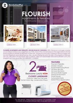 Flourish Apartments & Terraces Off Plan Flats, Orchid Road, Chevron, Lekki, Lafiaji, Lekki, Lagos, Block of Flats for Sale