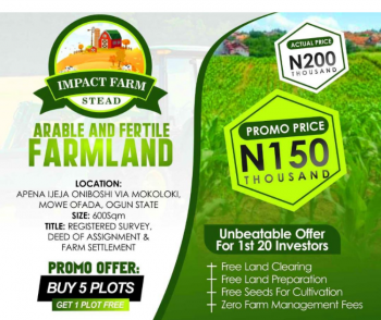 Impact Farm Stead, Mololoki, Mowe Ofada, Ogun, Commercial Land for Sale