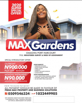 Dry Lands, Max Gardens Estate, Omagwa, Port Harcourt, Rivers, Mixed-use Land for Sale