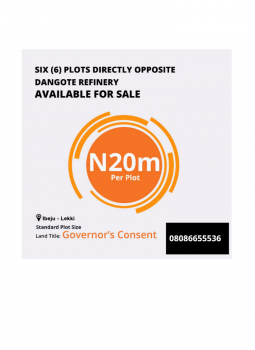 6 Plots of Commercial Plots with Consent, Facing Dangote Refinery, Lekki Free Trade Zone, Lekki, Lagos, Commercial Land for Sale