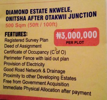 Land., Diamond Estate Nkwele Onitsha After Otakwii Junction., Onitsha, Anambra, Residential Land for Sale