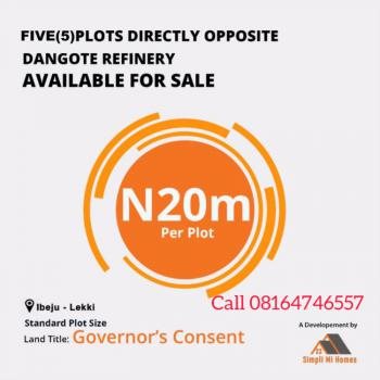 Land with C of O in a Built Up Environment, Caritas Luxury Homes Directly Opposite  Dangote Refinery Refinery, Ibeju Lekki, Lagos, Industrial Land for Sale
