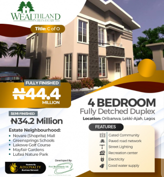 4  Bedroom Fully Detached Duplex, Beside Dpkay, Oribanwa, Ibeju Lekki, Lagos, Detached Duplex for Sale