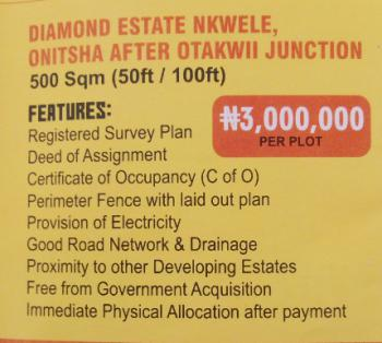 Affordable Commercial Land in Nkwele Onitsha Town, Diamond Estate Nkwele Onitsha Town After Otakwi Junction, Onitsha, Anambra, Commercial Land for Sale