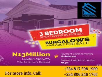 Spacious 3 Bedroom Semi-detached Bungalow, Awoyaya, Ibeju Lekki, Lagos, Semi-detached Bungalow for Sale