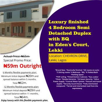 Luxury Finished 4 Bedroom Semi Detached Duplex with Bq, Edens Court, Chevron Drive, Lekki, Lagos, Flat for Sale