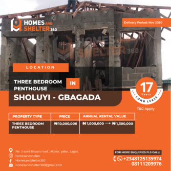 Own a Penthouse with Ease for 17years, Soluyi, Gbagada, Lagos, Block of Flats for Sale