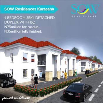 Luxury 4 Bedrooms Semi Detached Duplex Plus Bq, Opposite Kubwa Federal Housing Bridge, Karsana, Abuja, House for Sale