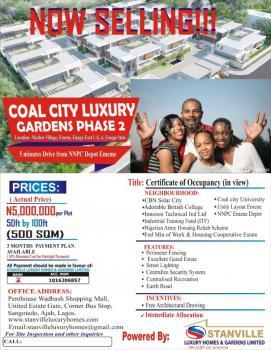 Affordable Dry Land, Coal City Luxury Gardens Phase 2, Emene, Enugu, Enugu, Residential Land for Sale