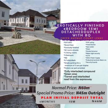 Promo!! Exotically Finished 4 Bedroom Semi Detached Duplex with Bq, Creek Court Avenue Phase 1, Ikota, Lekki, Lagos, Semi-detached Duplex for Sale