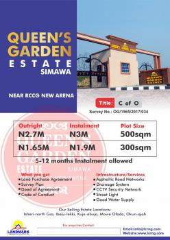 Dry  Land with C of O As Title at an Affordable Price, Queens Garden Estate Simawa, Simawa, Ogun, Mixed-use Land for Sale