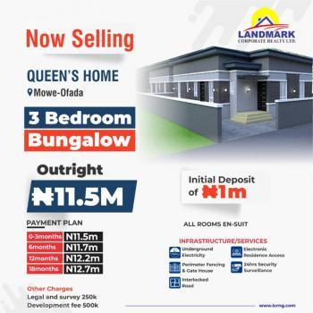 Newly Built Luxury 3 Bedroom Bungalows, Queens Park Mowe Ofada, Mowe Ofada, Ogun, Terraced Bungalow for Sale