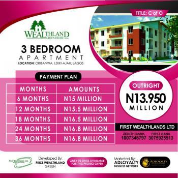 3 Bedroom Flat with C of O, Wealth Land Green Estate, Oribanwa, Ibeju Lekki, Lagos, Flat for Sale