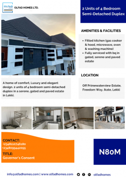 2 Units of 4 Bedroom Semi-detached Duplex, Off Primewaterview Estate, Freedom Way, Ikate, Lekki, Lagos, Semi-detached Duplex for Sale