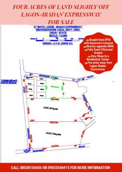 4 Acres of Land, Slightly Off Lagos-ibadan Expressway, Ibafo, Ogun, Mixed-use Land for Sale
