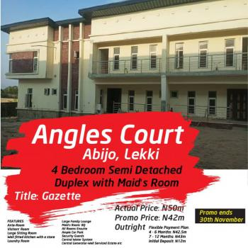 Executive 4 Bedrooms Semi-detached Duplex with Maid Room, Angles Court Inside Green Park Estate, Abijo, Lekki, Lagos, Semi-detached Duplex for Sale