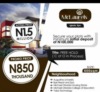 Mclaurels, Igbola Town, Epe, Lagos, Residential Land for Sale