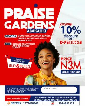 Land, Praise Gardens, Goodluck Ebele Jonathan Express, Ishielu, Ebonyi, Mixed-use Land for Sale