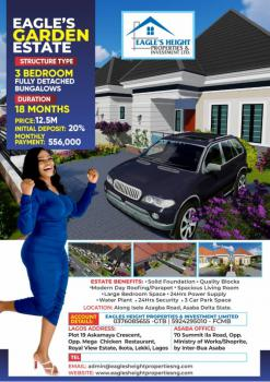 3 Bedroom Fully Detached Bungalow, The Eagles Heights Residence Isele Azagba at Eagles Garden Estate, Asaba, Delta, Terraced Bungalow for Sale